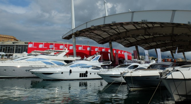 Luxury yachts on display at the 2013 Genoa Boat Show