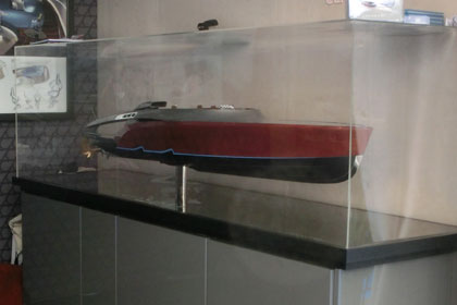 Model of Aeroboat yacht tender designed by Claydon Reeves on display at the Monaco Yacht Show 2013