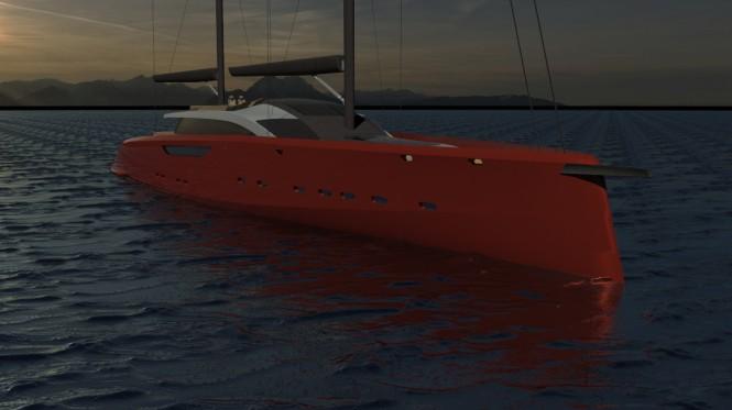 Motor sailer yacht Serendipity concept