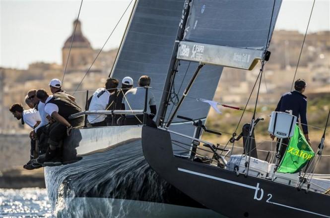 Sailing yacht B2 approaching the finish line - Photo by Rolex Kurt Arrigo