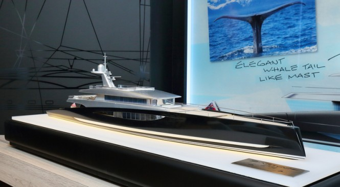 Scale model of the new 80m motor yacht DART concept by Royal Huisman and Andrew Winch