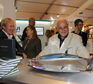 Sale of Tim Heywood-designed superyacht sculpture just days after its signing on Yachting Pages stand at MYS