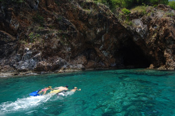 Snorkelling the caves on Normand Island - Photographs © BVI Tourist Board