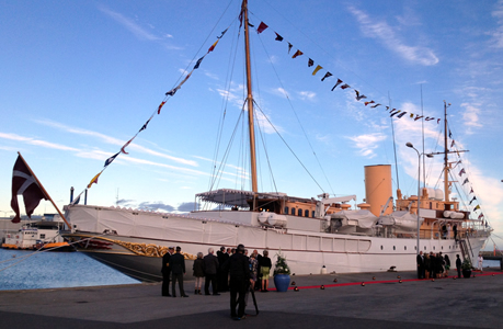 The Royal Yacht HMDY Dannebrog in front of the Danish shipyard in Skagen