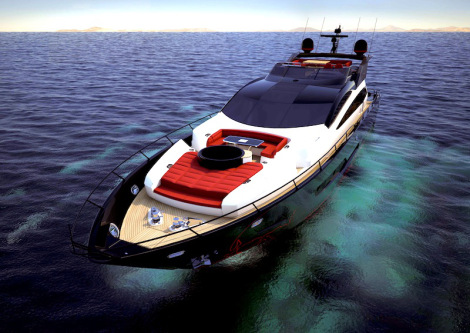 a CGI view of the Sunseeker 101 Sport Yacht bow shows the customised foredeck spa pool and large sunbathing area