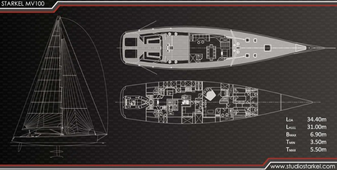 MV100 Yacht Concept - General arrangement