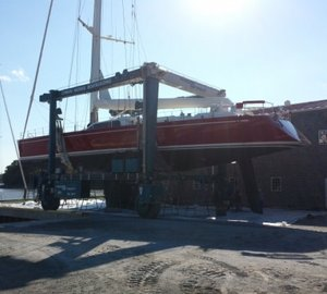 Regular pre-Caribbean prep for 100' Nautor Swan sailing yacht RED SKY at Lyman-Morse