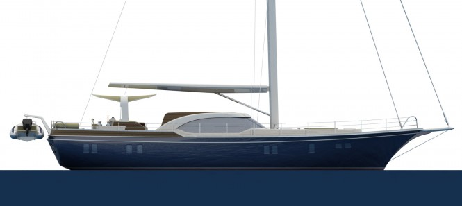 21m Fifth Ocean luxury yacht concept - side view