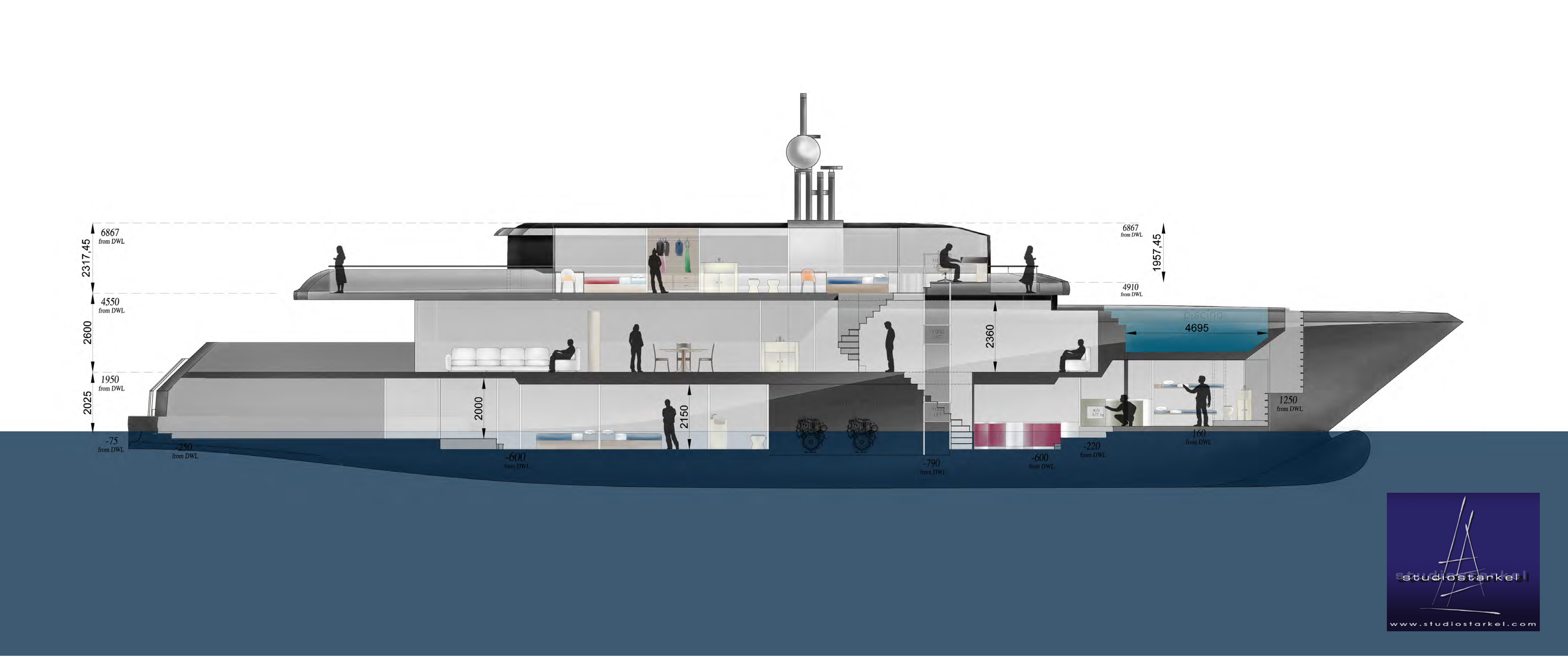 44m Diesel Electric Yacht Concept Developed By Fifth Ocean