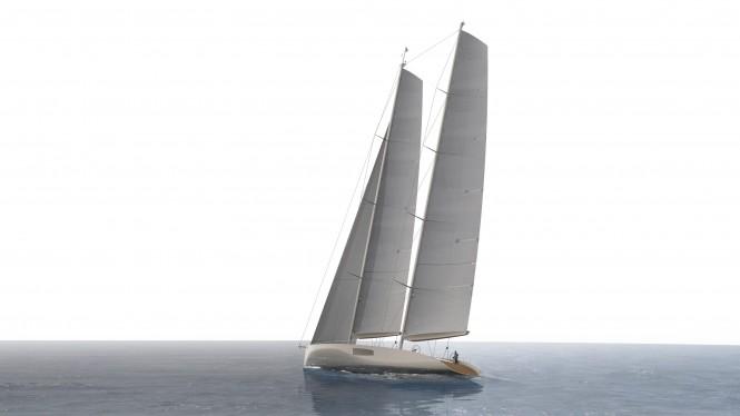 44m Persak & Wurmfeld superyacht concept under sail