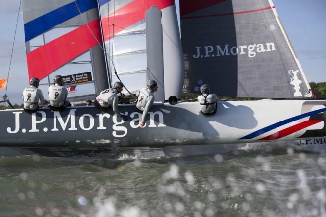 Ben Ainslie skippering the J.P. Morgan BAR AC45 catamaran