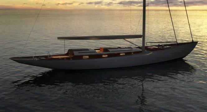 Fairlie 77 Yacht Design at sunset