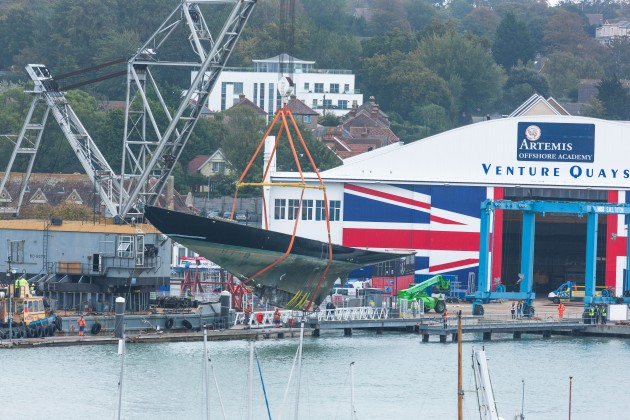 Lifting of the 52m classic sailing yacht K1 Britannia at Venture Quays in the UK