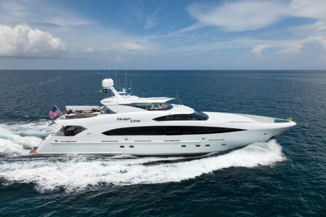 Luxury motor yacht FINISH LINE (hull T-038) by Trinity Yachts at full speed