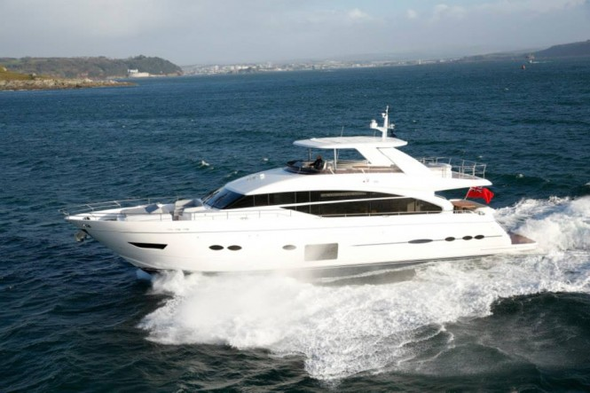 Luxury motor yacht Princess 88 by Princess Yachts under sea trial