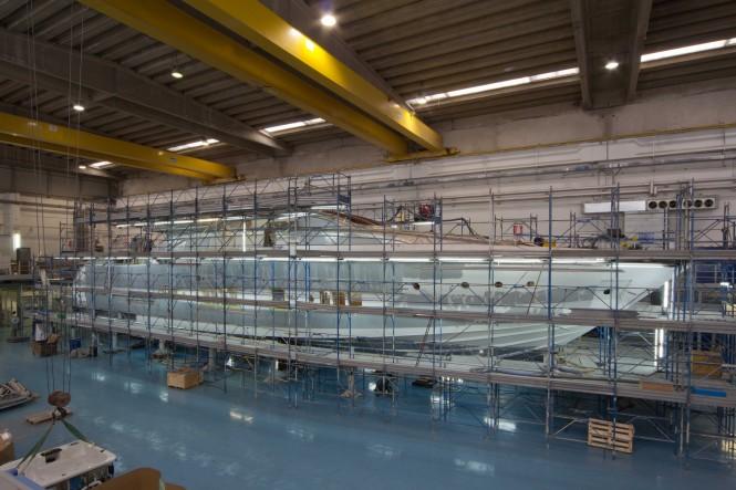 Luxury motor yacht Riva 122 Mythos under construction