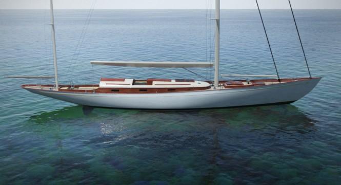 Luxury yacht Fairlie 77 design - side view