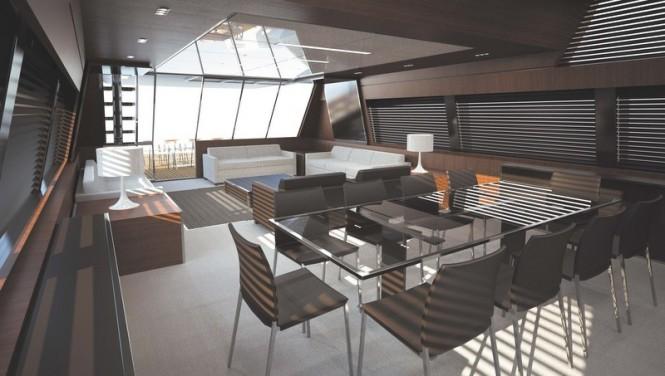 Luxury yacht Mythos - Main deck saloon