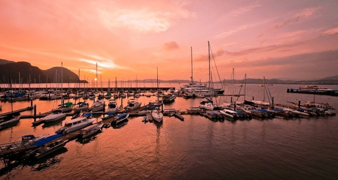 Luxury yacht marina in the popular Asia yacht charter location - Malaysia