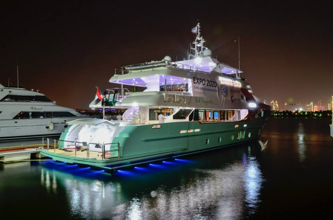 Majesty 135 superyacht by night
