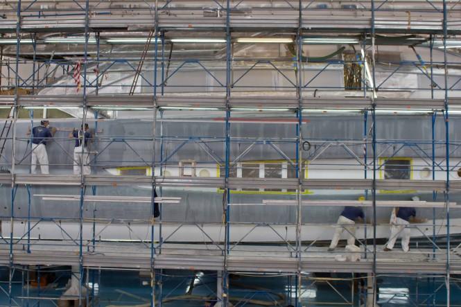 Motor yacht Riva 122 Mythos under construction at CRN