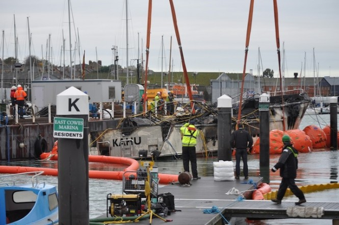 Salvage operation of Nordhavn 76 Yacht Kahu - Image courtesy of Cowes Harbour Commission
