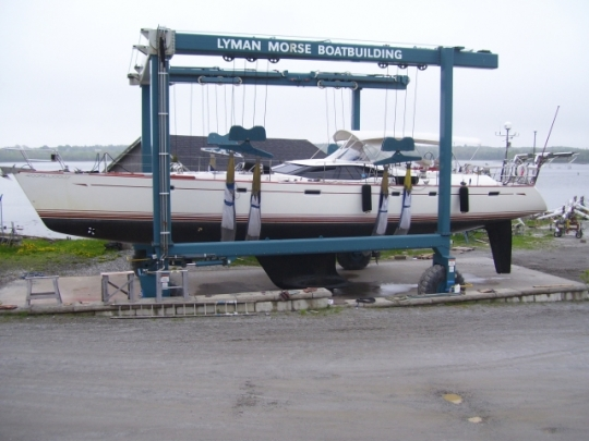 Oyster 72 Yacht Cockliecious under refit at Lyman Morse