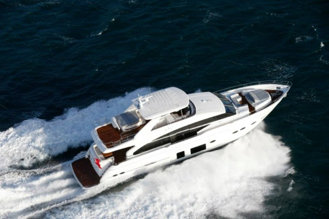 Princess 88 superyacht from above