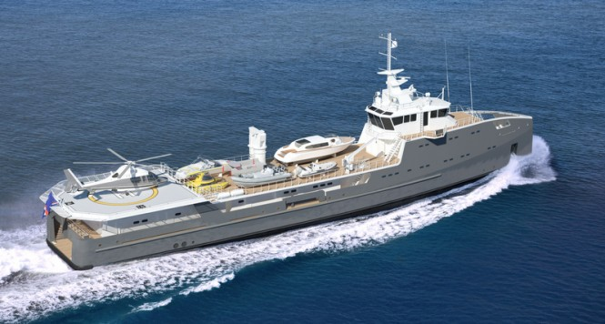 Rendering of the second SEA AXE 6711 Fast Yacht Support vessel launched by Damen