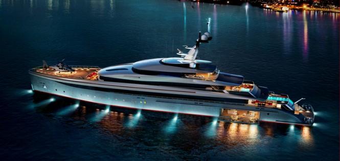 Superyacht E-MOTION design by night