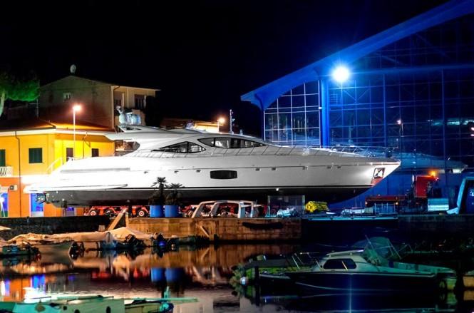 Superyacht Mangusta 110 at launch
