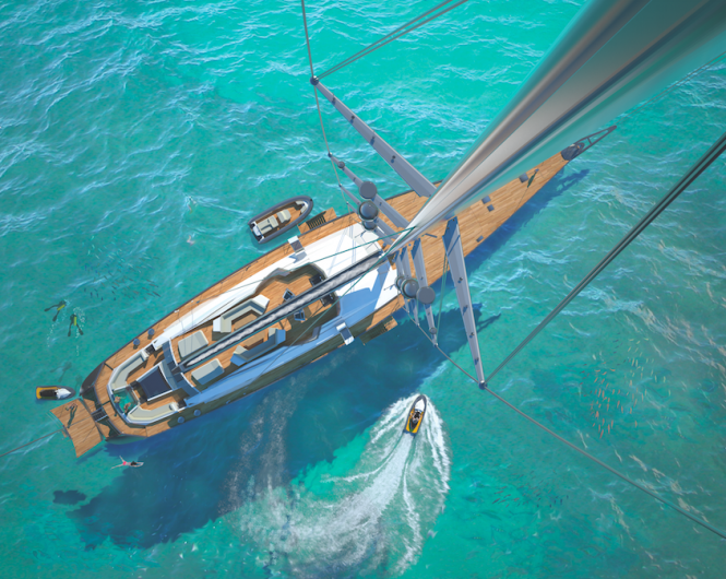 TROY Yacht from above - Image credit to Esenyacht - Tim Saunders Yacht Design