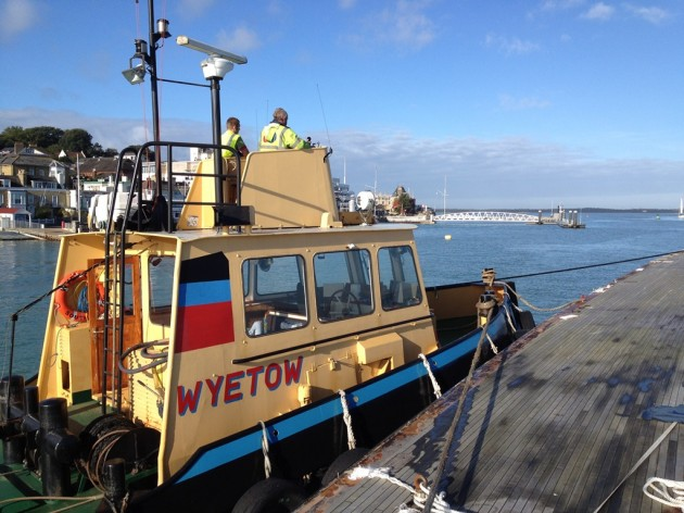 Towing of K1 Britannia Yacht to Hythe, UK