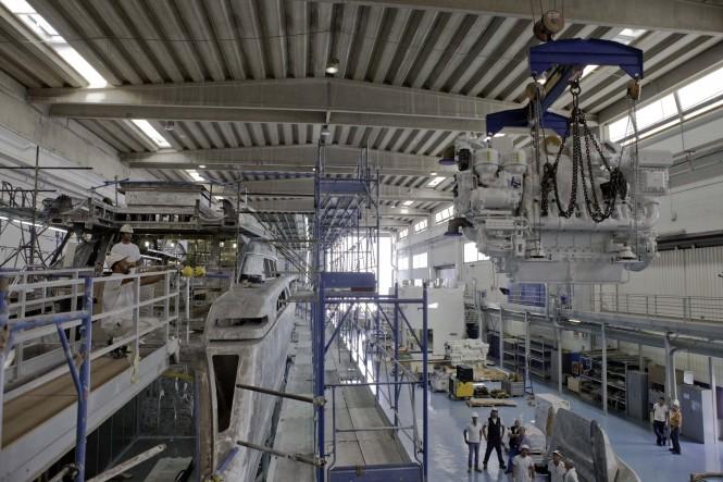 Work in Progress on the new motor yacht Riva 122 Mythos