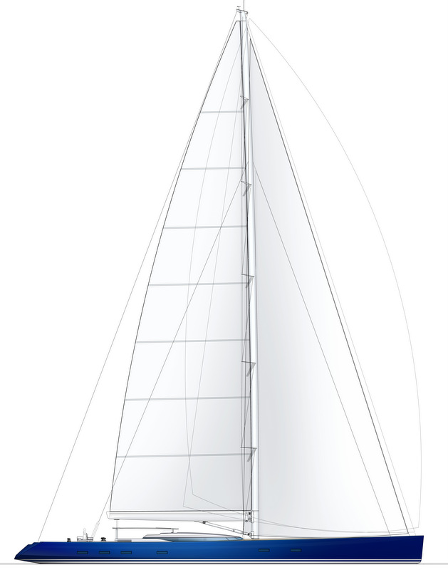 Luxury yacht PS46 concept - Sail Plan High Performance Upgrade