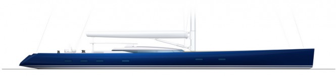 PS46 Yacht Concept by Alloy Yachts and Philippe Briand - Profile - blue hull