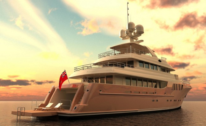 38m MCC superyacht - aft view