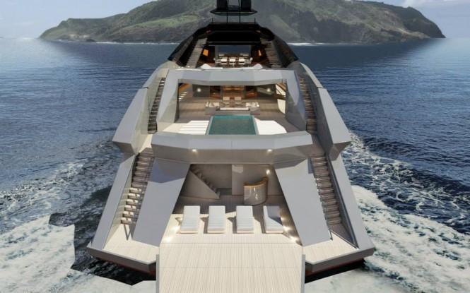 65m mega yacht Project Granturismo - aft view