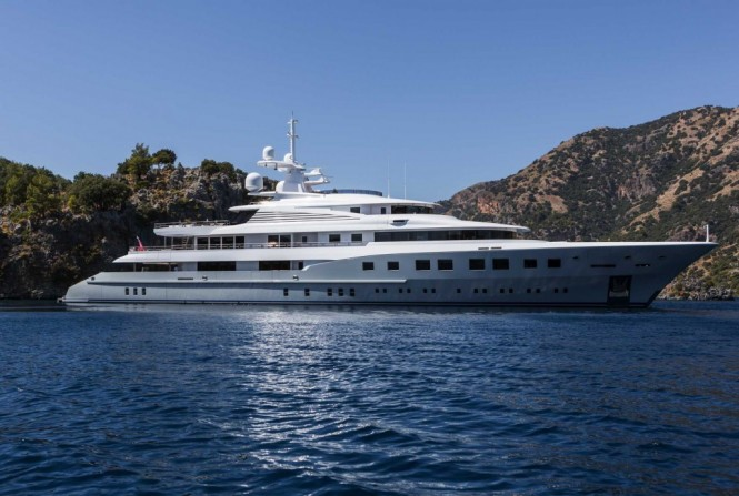 73m Dunya superyacht Axioma designed by Sterling Scott - Image credit to Jeff Brown