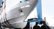 First F-125 yacht hull at Benetti yard in Viareggio