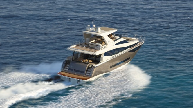 Luxury yacht Prestige 750 - aft view