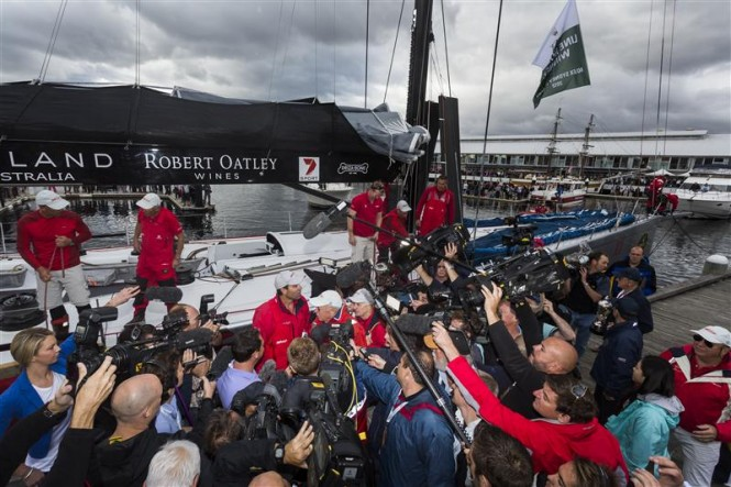 Media gathered in Hobart for the arrival of Wild Oats XI Yacht - Line honours and overall winner in 2012 - Photo by Rolex Carlo Borlenghi