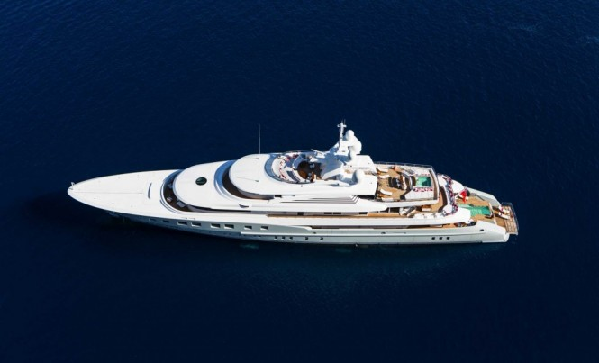 Mega yacht Axioma from above - Image credit to Jeff Brown