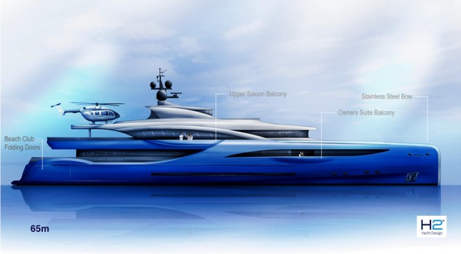 New 65m motor yacht exterior proposal by Dorries Yachts and H2 Yacht Design