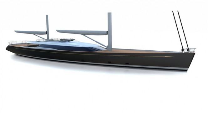 Rendering of 56m superyacht Mondango Three by Alloy Yachts