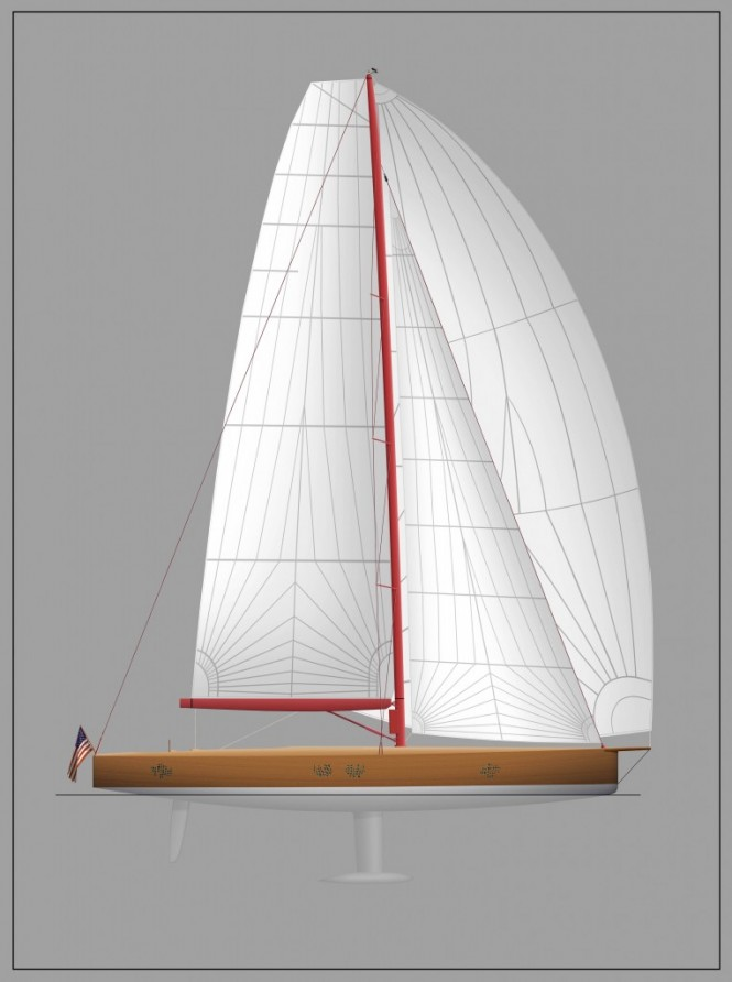 Rendering of Frers-designed 74' Yacht under construction at Brooklin Boat Yard
