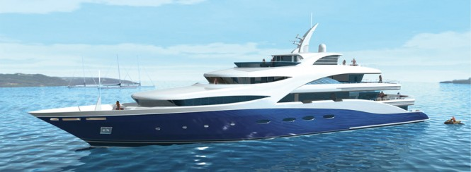 Rendering of the 71m superyacht Baltika (Project A1331) by Sevmash
