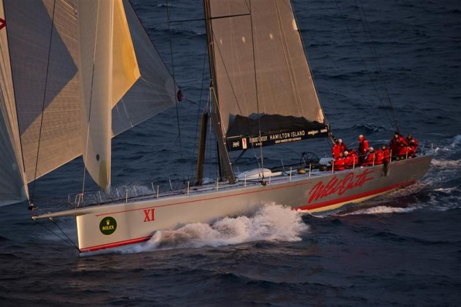Sailing yacht WILD OATS XI at sunrise - Photo credit to Rolex Carlo Borlenghi