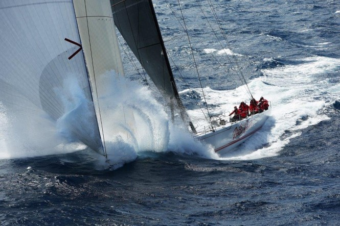 Supermaxi yacht Wild Oats XI - Photo credit to Brett Costello/News Ltd