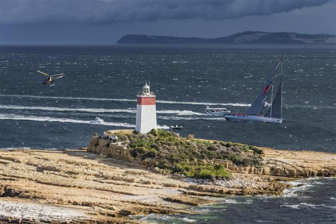 Superyacht Wild Oats XI passing the iron pot - Photo credit to Rolex Carlo Borlenghi